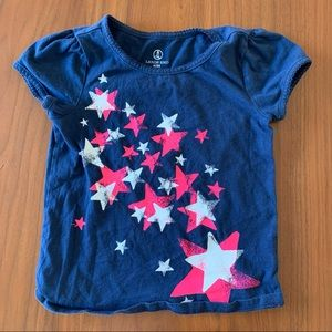 4/$20 Land's End blue tee shirt pink stars size 4